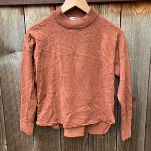 Madewell Mock Neck Orange Red Cashmere Sweater
